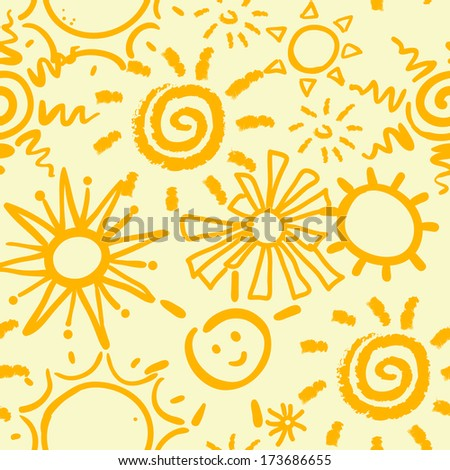 Seamless pattern with sun. , vector sketchy illustration isolated, hand - drawn - stock vector