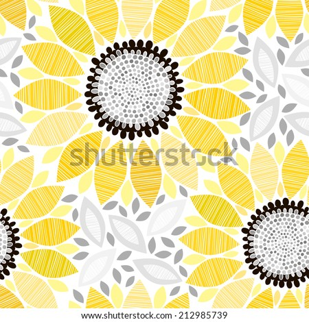 Seamless pattern with sunflowers. Abstract floral background. - stock vector