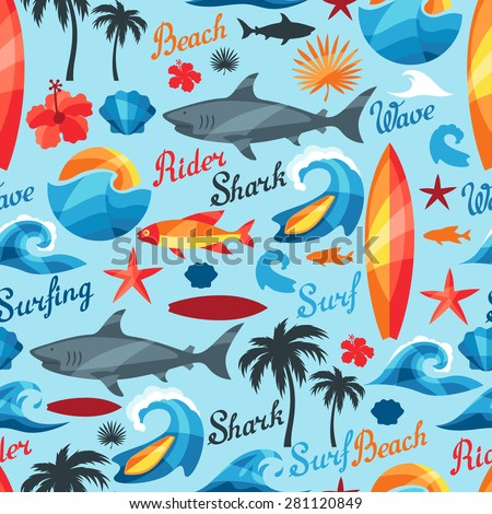 Seamless pattern with surfing design elements and objects. - stock vector