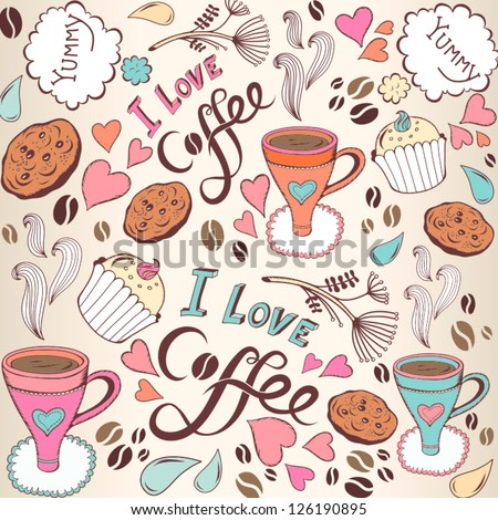 """Seamless pattern with sweet cakes, coffee and other cute things """"I love coffee""""/ beige. - stock vector"""