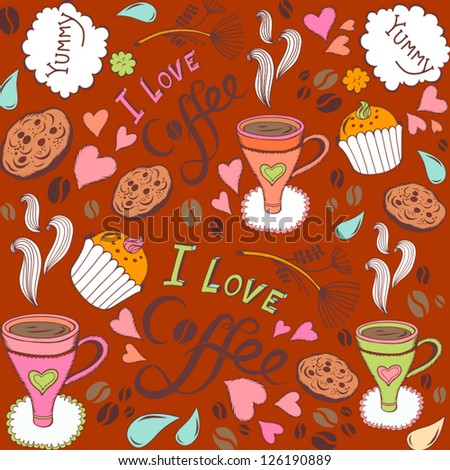 """Seamless pattern with sweet cakes, coffee and other cute things """"I love coffee""""/ orange. - stock vector"""
