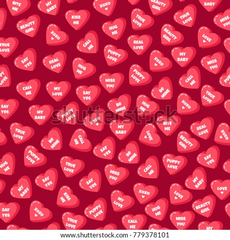 Seamless Pattern With Sweet Hearts With Text. Love You. Be Mine. My Love