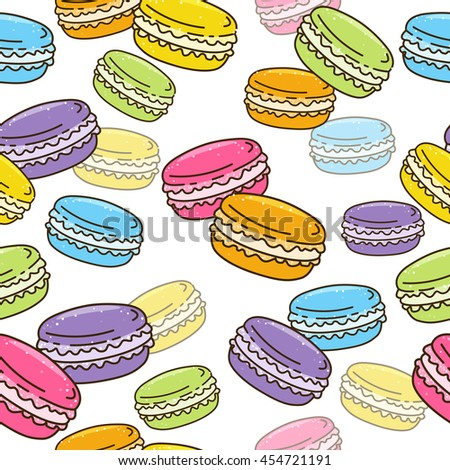 Seamless pattern with sweet macarons