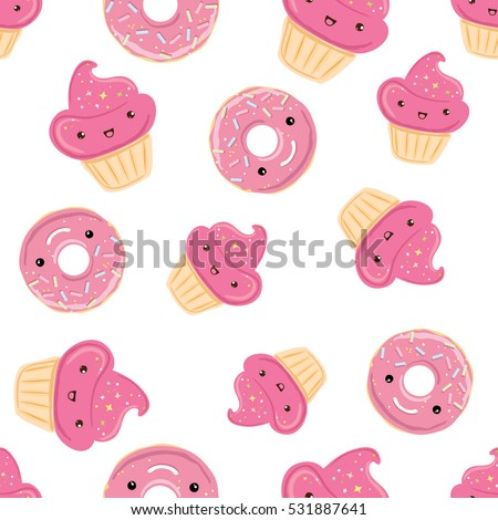 Seamless pattern with sweets - donuts, cupcakes isolated on white background. Can use for birthday card, the childrens menu, packaging, textiles, fabrics, wallpaper