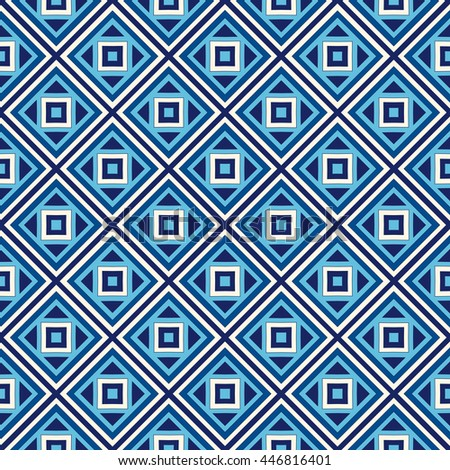 Seamless pattern with symmetric geometric ornament. Blue abstract background. Repeated squares and rhombuses ornamental wallpaper. Vector illustration - stock vector