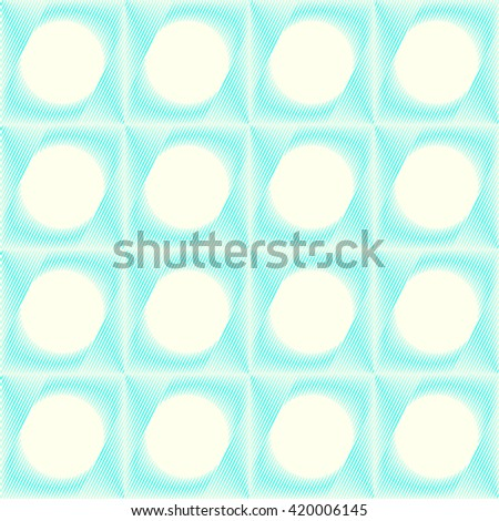 Seamless pattern with symmetric geometric ornament. Blue sharp lines stylized lights abstract background. 3d optical illusion effect wallpaper. Vector illustration - stock vector