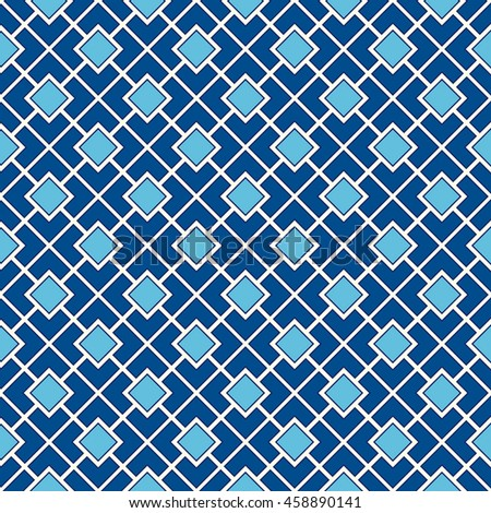 Seamless pattern with symmetric geometric ornament. Color diagonal square chain abstract background. Vector illustration - stock vector