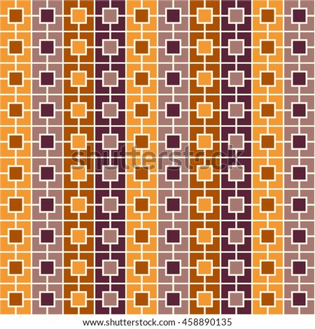 Seamless pattern with symmetric geometric ornament. Color square chain abstract background. Vector illustration - stock vector