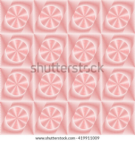 Seamless pattern with symmetric geometric ornament. Red sharp lines and stylized propellers abstract background. 3d optical illusion effect wallpaper. Vector illustration - stock vector