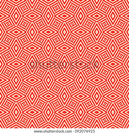 Seamless pattern with symmetric geometric ornament. Striped red white abstract background. Abstract repeated rhombus wallpaper. Vector illustration - stock vector