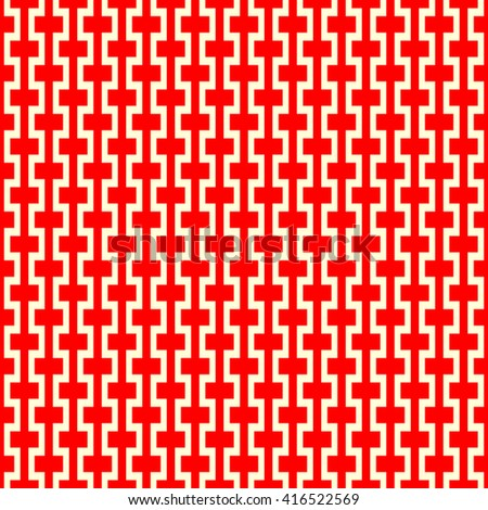 Seamless pattern with symmetric geometric ornament. Zigzag striped red white abstract background. Curved lines abstract repeated wallpaper. Vector illustration - stock vector