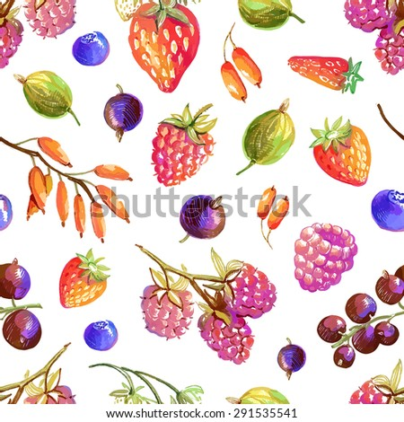 Seamless pattern with tasty hand drawn berries - strawberry, wild strawberry, currant, raspberry, barberry, gooseberry, blueberry - stock vector