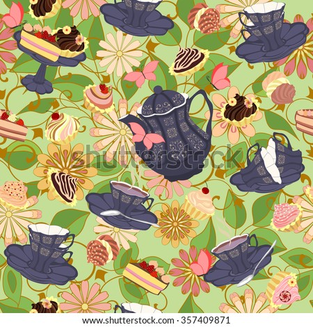 Seamless pattern with tea cups, cakes and butterflies on a background of exotic abstract flowers. Tea utensils and sweets amid the bright exotic plants.