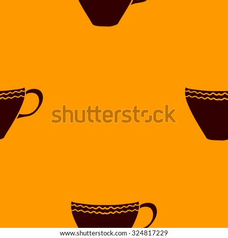 Seamless pattern with tea cups. Vector illustration.  - stock vector