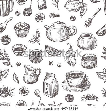 Seamless pattern with tea elements. Hand drawn vector illustration. Can be used for menu, cafe, restaurant, bar, poster, fabric, wrapping paper, banner, scrapbooking and other design.