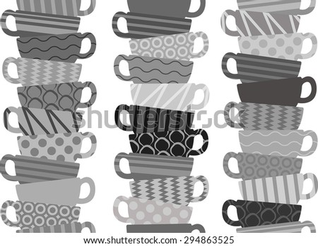 Seamless pattern with tea or coffee cups - stock vector