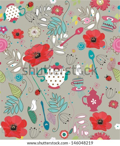 Seamless pattern with teacups, teapots, birds and flowers - stock vector