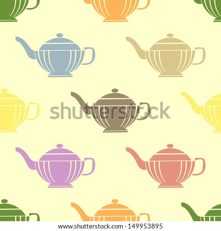 Seamless pattern with teapots - stock vector
