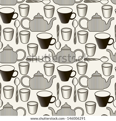 Seamless pattern with teapots and tea cups. Stylish texture with tea theme - stock vector