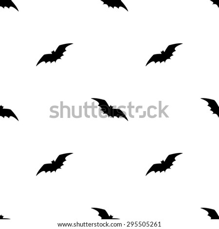 Seamless pattern with terrible black silhouettes of bats in the night on a white background for the holiday Halloween - stock vector