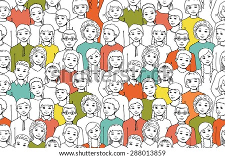 seamless pattern with the image of a group of children, teens, girls, boys with different hairstyles and nationalities. graphic hand drawn illustration - stock vector