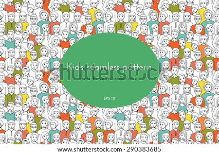 seamless pattern with the image of a group of children, teens, girls, boys with different hairstyles. graphic hand drawn illustration - stock vector