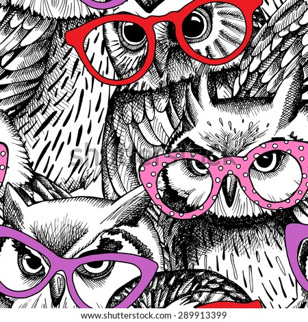 Seamless pattern with the image of owls in glasses. Vector illustration. - stock vector