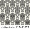 Seamless Pattern With Tiki totem - stock vector