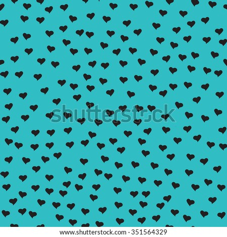 Seamless pattern with tiny black hearts. Abstract repeating. Cute backdrop. Blue background. Template for Valentine's, Mother's Day, wedding, scrapbook, surface textures. Vector illustration. - stock vector