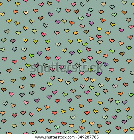 Seamless pattern with tiny colorful hearts. Abstract repeating. Cute backdrop. Gray green background. Template for Valentine's, Mother's Day, wedding, scrapbook, surface textures. Vector illustration. - stock vector