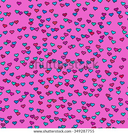 Seamless pattern with tiny colorful hearts. Abstract repeating. Cute backdrop. Hot pink background. Template for Valentine's, Mother's Day, wedding, scrapbook, surface textures. Vector illustration. - stock vector