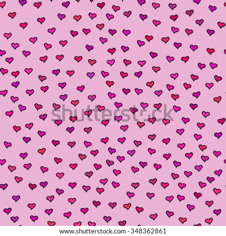 Seamless pattern with tiny colorful hearts. Abstract repeating. Cute backdrop. Pink background. Template for Valentine's, Mother's Day, wedding, scrapbook, surface textures. Vector illustration. - stock vector