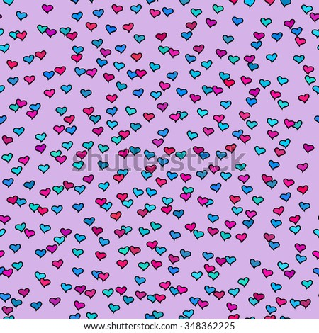 Seamless pattern with tiny colorful hearts. Abstract repeating. Cute backdrop. Purple background. Template for Valentine's, Mother's Day, wedding, scrapbook, surface textures. Vector illustration. - stock vector