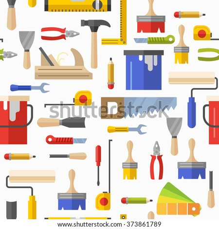 Seamless pattern with tools for repair. Vector illustration. Roller, brush, paint, pencil, tool, hammer, tape measure, putty knife, pencil.
