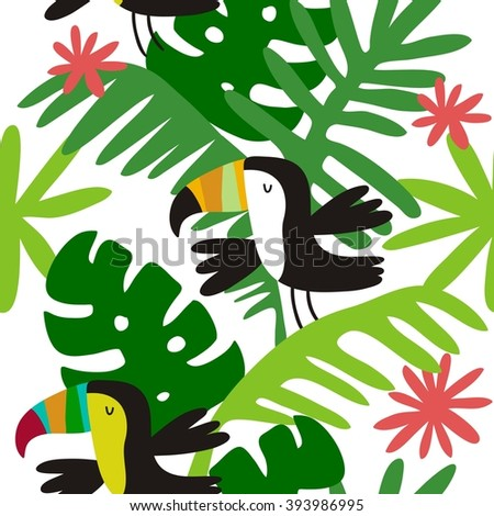 Seamless pattern with toucan - stock vector