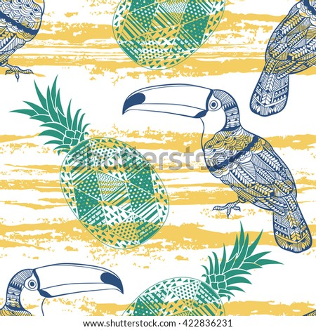 Seamless pattern with toucans and pineapples. Colorful tropical background. - stock vector