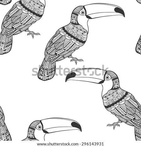 Seamless pattern with toucans. Black and white doodle background. - stock vector