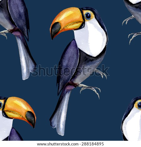 Seamless pattern with toucans. Watercolor hand drawing. Vector illustration