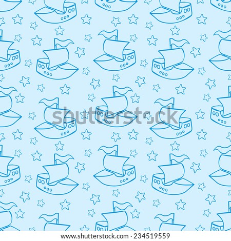 Seamless pattern with toy boats. Cartoon style.