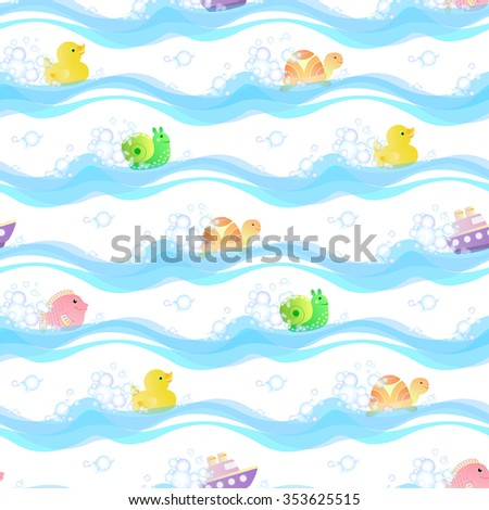 Seamless pattern with toys duck, fish, turtle, snail, boat, floating on the water among the suds. - stock vector