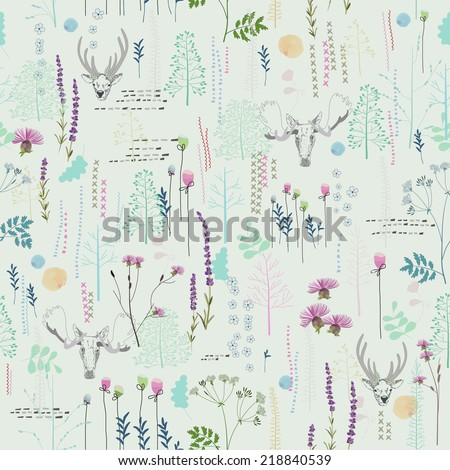 Seamless pattern with trees, shrubs, foliage, deer, elk, animals on light background in vintage style. Background for fabric, scrapbooking, greeting cards, gifts in hipster style. Hand drawing.  - stock vector