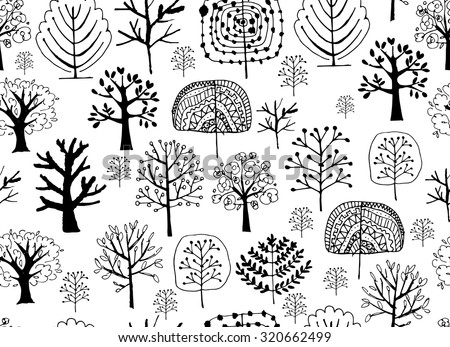 Seamless pattern with trees, sketch for your design. Vector illustration