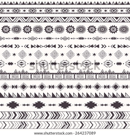 Seamless pattern with tribal motifs Pattern with aztec decorative elements - stock vector