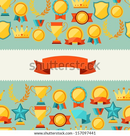 Seamless pattern with trophy and awards. - stock vector