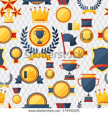 Seamless pattern with trophy and awards - stock vector