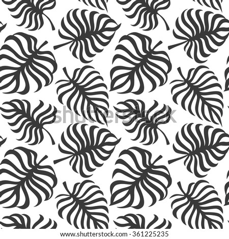 Seamless pattern with tropic leaves of monstera on white background. Vector - stock vector