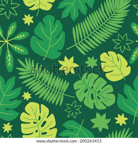 Seamless pattern with tropic leaves. Perfect for wallpapers, pattern fills, web page backgrounds, surface textures, textile, wrapping papers  - stock vector