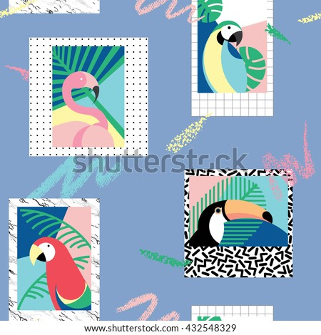 Seamless pattern with tropical birds 2 - stock vector