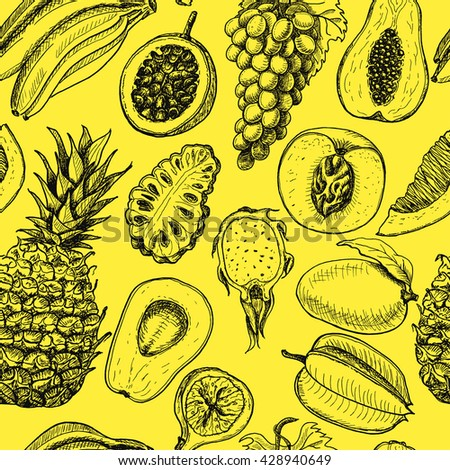 Seamless pattern with tropical fruits on a yellow background. Vector illustration for your design - stock vector
