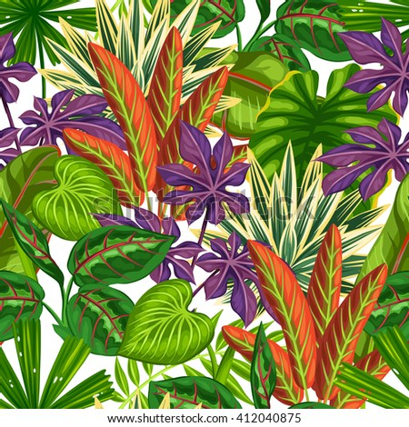 Seamless pattern with tropical plants and leaves. Background made without clipping mask. Easy to use for backdrop, textile, wrapping paper. - stock vector